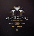 Wine Glasses Vintage Retro Design Elements for vector image vector image