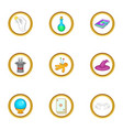wizard things icons set cartoon style vector image vector image