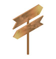 wood direction signboard icon isometric style vector image vector image