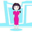 young woman showing cell smart phone standing over vector image