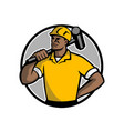 african american demolition worker mascot vector image vector image