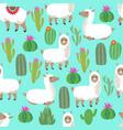 alpaca seamless pattern cute llama baby vector image vector image