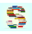 Alphabet from stacks of multi colored books vector image
