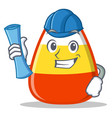 architect candy corn character cartoon vector image vector image