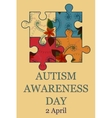 Autism awareness day background retro vector image vector image