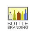 bottle color art and drink cafe logo vector image vector image