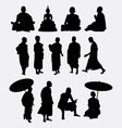 Buddhist monk silhouettes vector image