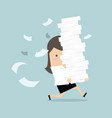 businesswoman run holding a lot of papers vector image vector image