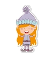 color image with gnome blonde girl vector image vector image