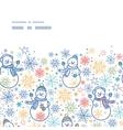 cute snowmen horizontal frame seamless pattern vector image vector image