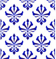 damask pattern blue and white vector image vector image