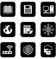 digital black icons set vector image vector image