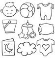 element baby of doodle set vector image vector image