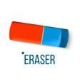 eraser stationery blue orange mistake fix vector image