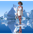 fashionable woman is standing on an ice floe vector image vector image