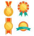 Golden Premium Quality Best Flat Labels Medals vector image