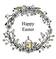 greeting card for easter with floral wreath vector image