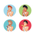 group of men athlete eating healthy food vector image