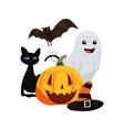 halloween ghost pumpkin hat cat and bat vector image vector image