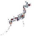 japan silhouette from symbolic miniatures vector image vector image