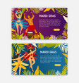 mardi gras web banner templates with women dancers vector image