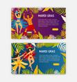 mardi gras web banner templates with women dancers vector image