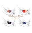 milk splash with fruits realistic set vector image vector image