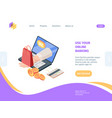 online shopping with banking isometric homepage vector image vector image