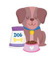 pet shop brown dog sitting with food bowl vector image vector image