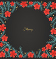 pine leaves and red hibiscus flower background vector image