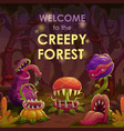 predator plants on the night forest glade scary vector image vector image
