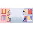 residential building with people on open window vector image vector image