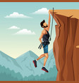scene landscape man hanging on the cliff rock vector image