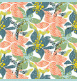 seamless pattern with bold colorful flowers with vector image