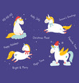set christmas unicorns in holiday clothes vector image
