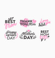 set mothers day icons with typography and vector image