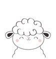 sheep lamb face head icon linecontour silhouette vector image