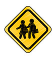 students on the road traffic signal icon vector image vector image
