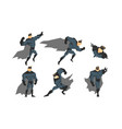 superhero in different action poses set vector image vector image