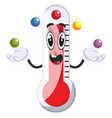 thermometer juggling with balls on white vector image