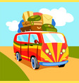 Traveling by minibus cartoon