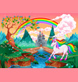 unicorn in a fantasy landscape with rainbow vector image