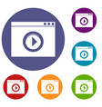video player icons set vector image vector image