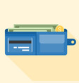 wallet full of money and credit card vector image