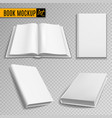 white book mockup realistic books cover blank vector image