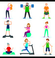 workout people set vector image vector image