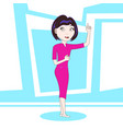 young woman in pink dress point finger up over vector image