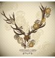 Vintage floral background with a deer skull vector image