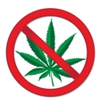 Sign of prohibition cannabis Red sign ban vector image