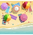 Aerial view of summer beach in flat design style vector image